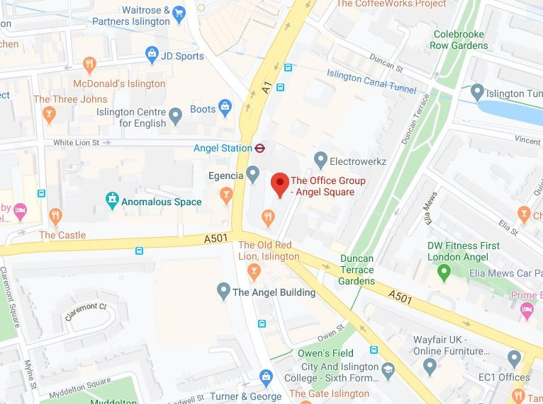 Map of Scope's Angel office location