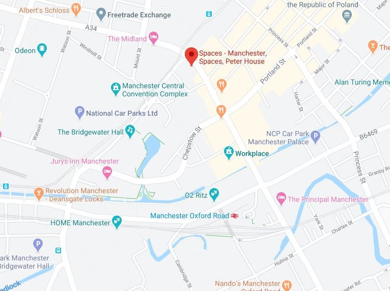 Map showing location of Manchester office